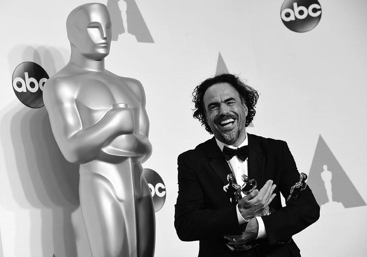 "Alejandro G. Inarritu accepts the award for best director for ""Birdman or (The Unexpected Virtue of Ignorance)'', in the press room of the 87th Academy Awards on Sunday, Feb. 22, 2015, at the Dolby Theatre in Hollywood. (Ian West/PA Wire/TNS)"