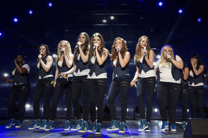 """Pitch Perfect 2"" reunites the Barden Bellas (Anna Kendrick, Rebel Wilson, Brittany Snow) and picks up a new addition (Hailee Steinfeld). (Photo courtesy Universal Pictures/TNS)"