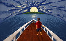 Erik Nelson Rodriguez Illustration of a migrant boy on a boat headed to a new land. Tribune News Service