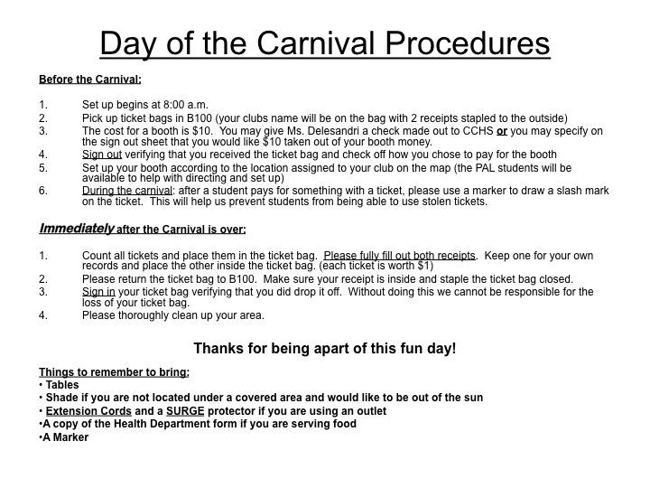 Carnival Day Procedures 2015 HC