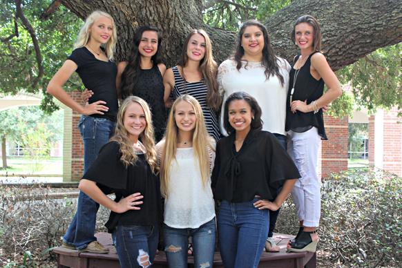 Bottom L-R Brett Bolt, Lindsey Borne, Lauren Hayes Top L-R Becca Stinson, Isabel Huntsman, Anna Scheuring, Sophia Leal, Amber Neal