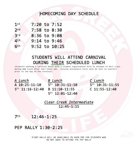 Homecoming Day bell schedule