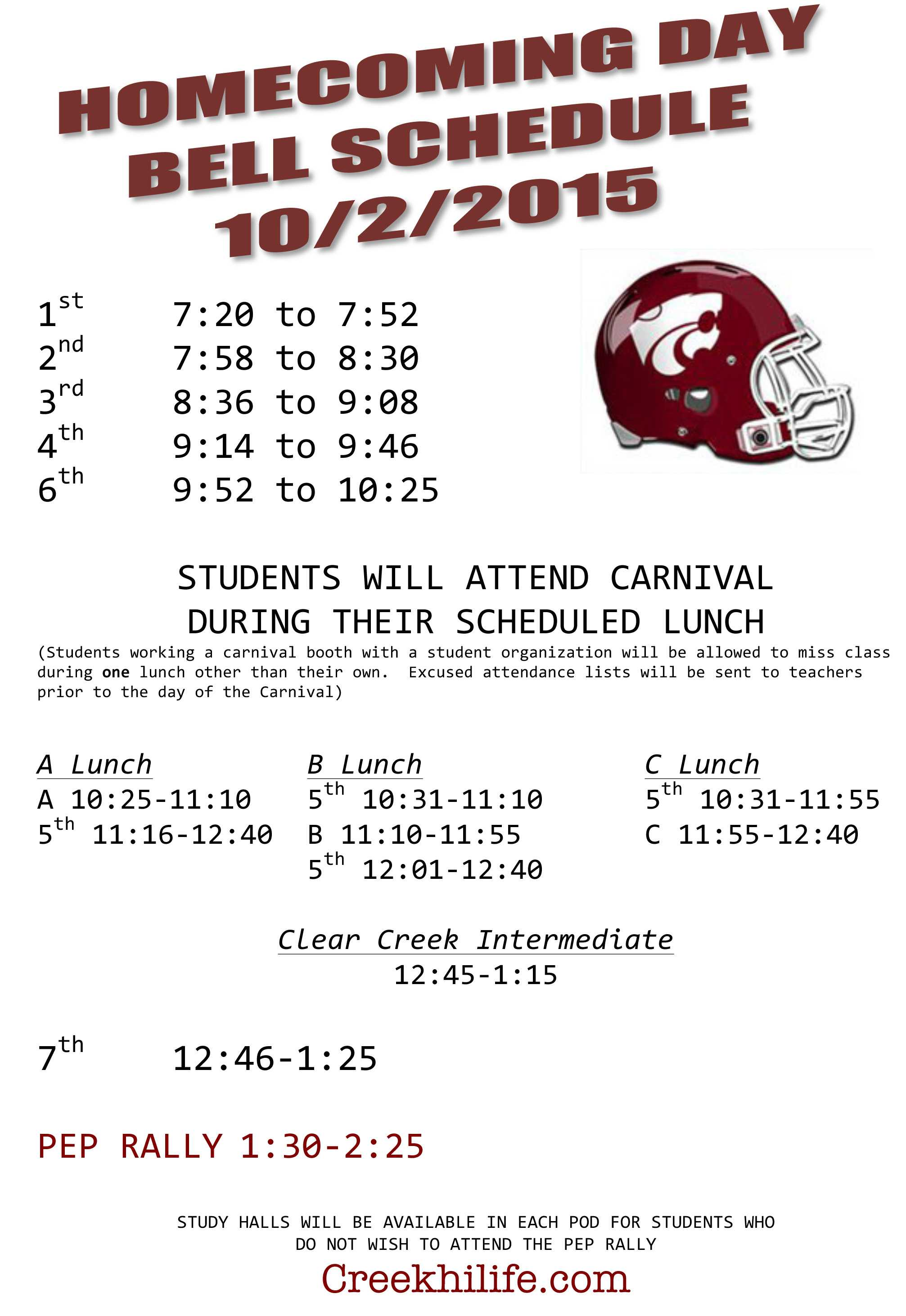 Microsoft Word - 2015  Homecoming Bell Schedule DRAFT.docx