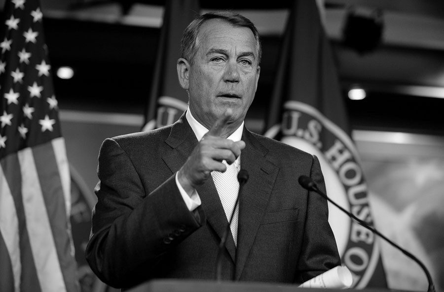 House Speaker John Boehner (R-Ohio) speaks at his weekly news conference on Capitol Hill, Thursday, July 10, 2014 in Washington. (Olivier Douliery/Abaca Press/MCT)