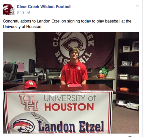 Landon Etzel signs with UH