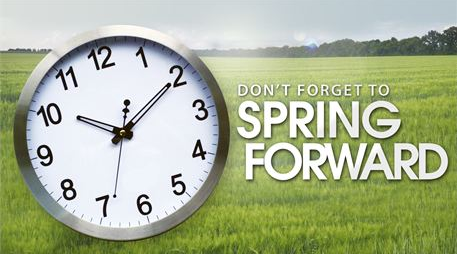 Move clocks forward one hour Sunday, March 13