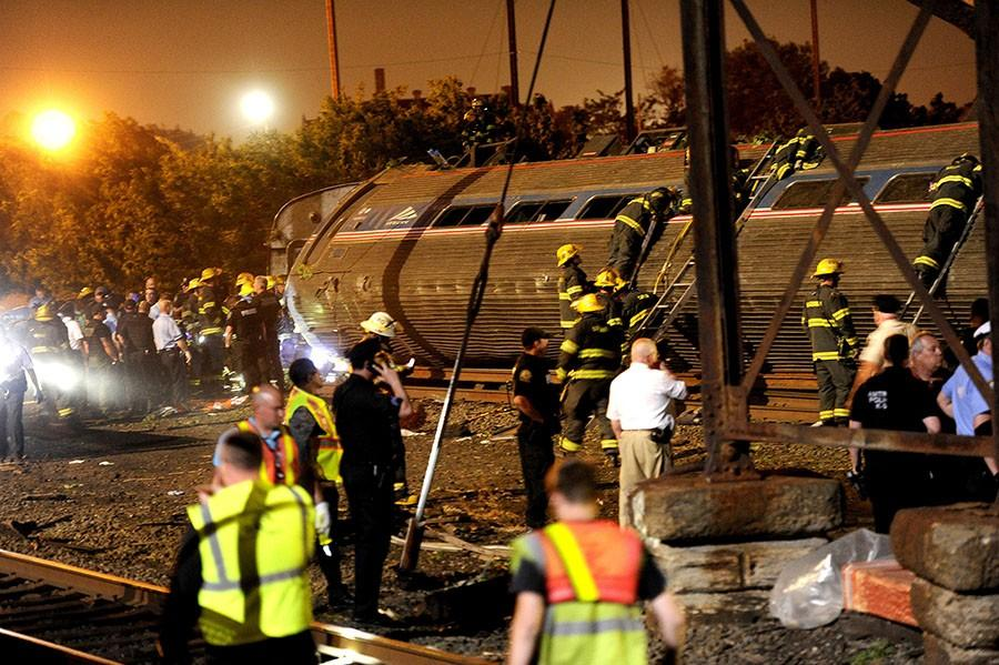 Amtrak crash on May 12, 2015 in Port Richmond, Pa. Only after the derailment did Amtrak quickly install automatic-braking circuitry on the northbound side of the Frankford Junction curve. (Tom Gralish/Philadelphia Inquirer/TNS)