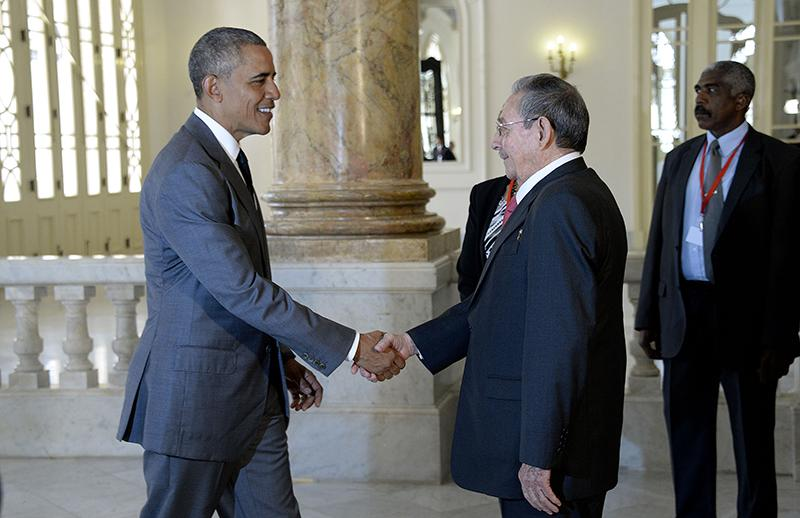 U.S. President Barack Obama and Cuban President Raul Castro shake hands before delivering remarks to the people of Cuba at the El Gran Teatro de Havana on Tuesday, March 22, 2016, in Havana, Cuba. (Olivier Douliery/Abaca Press/TNS)
