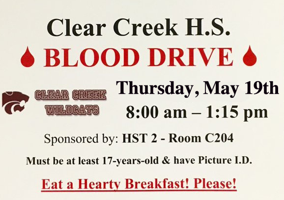 Blood Drive Thursday, May 19