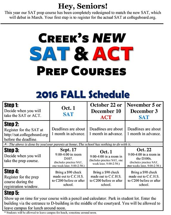 Fall PSAT Prep Schedule