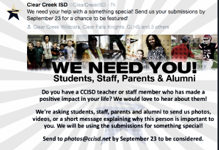 Send the good news about your teacher/CCISD staff member
