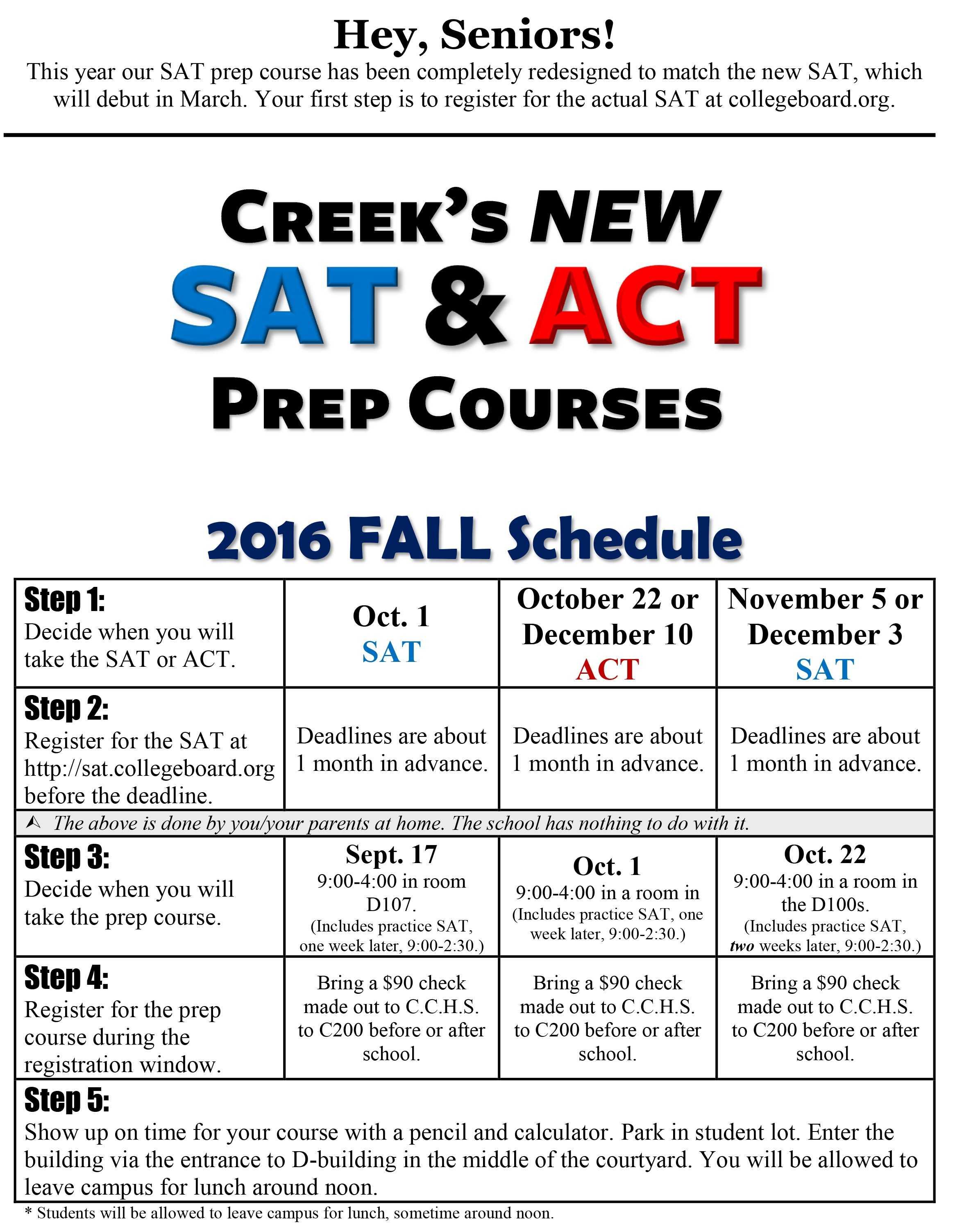 Fall PSAT Prep Schedule