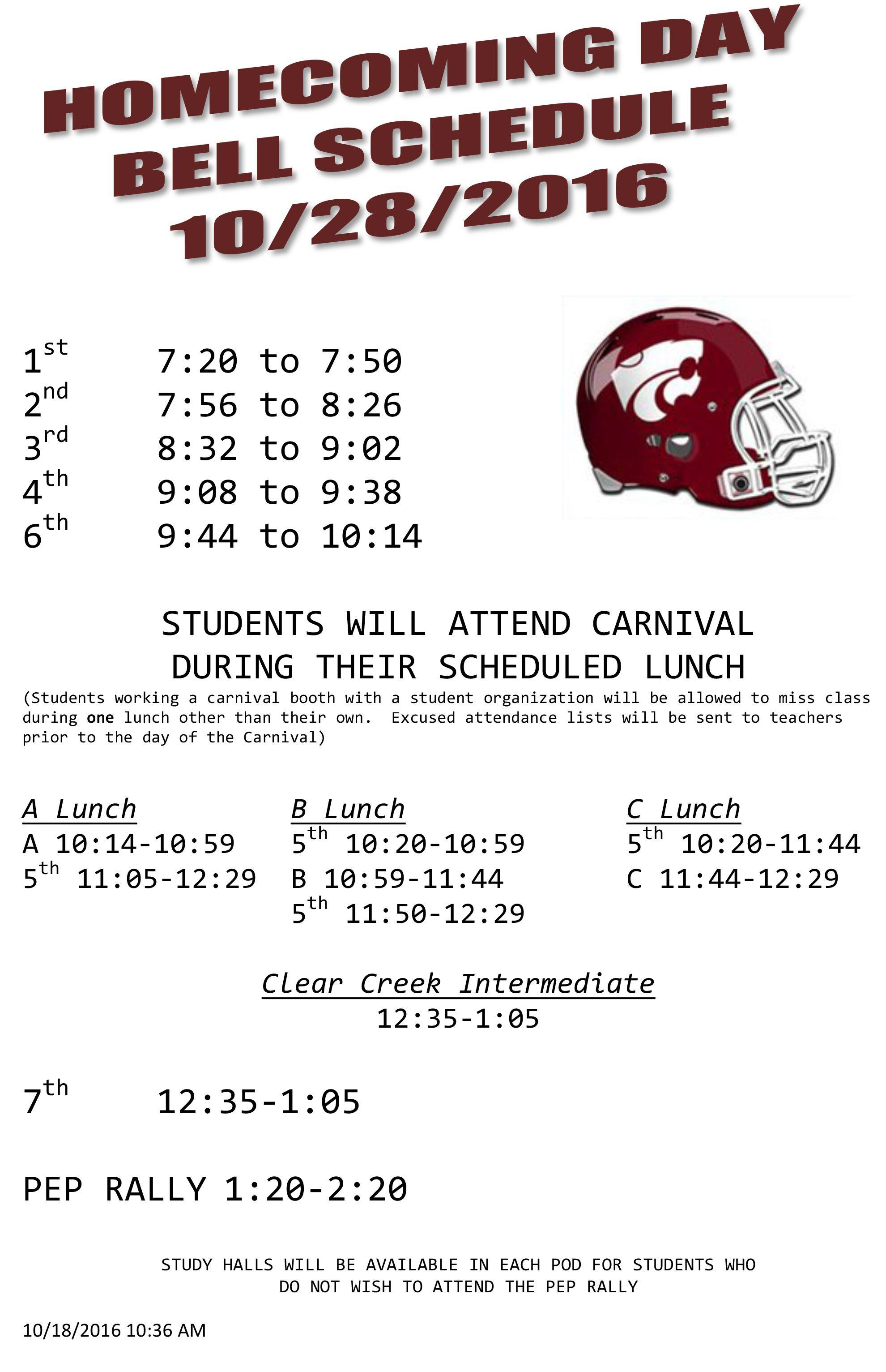 Microsoft Word - 2016 Homecoming Bell Schedule Draft 1.docx