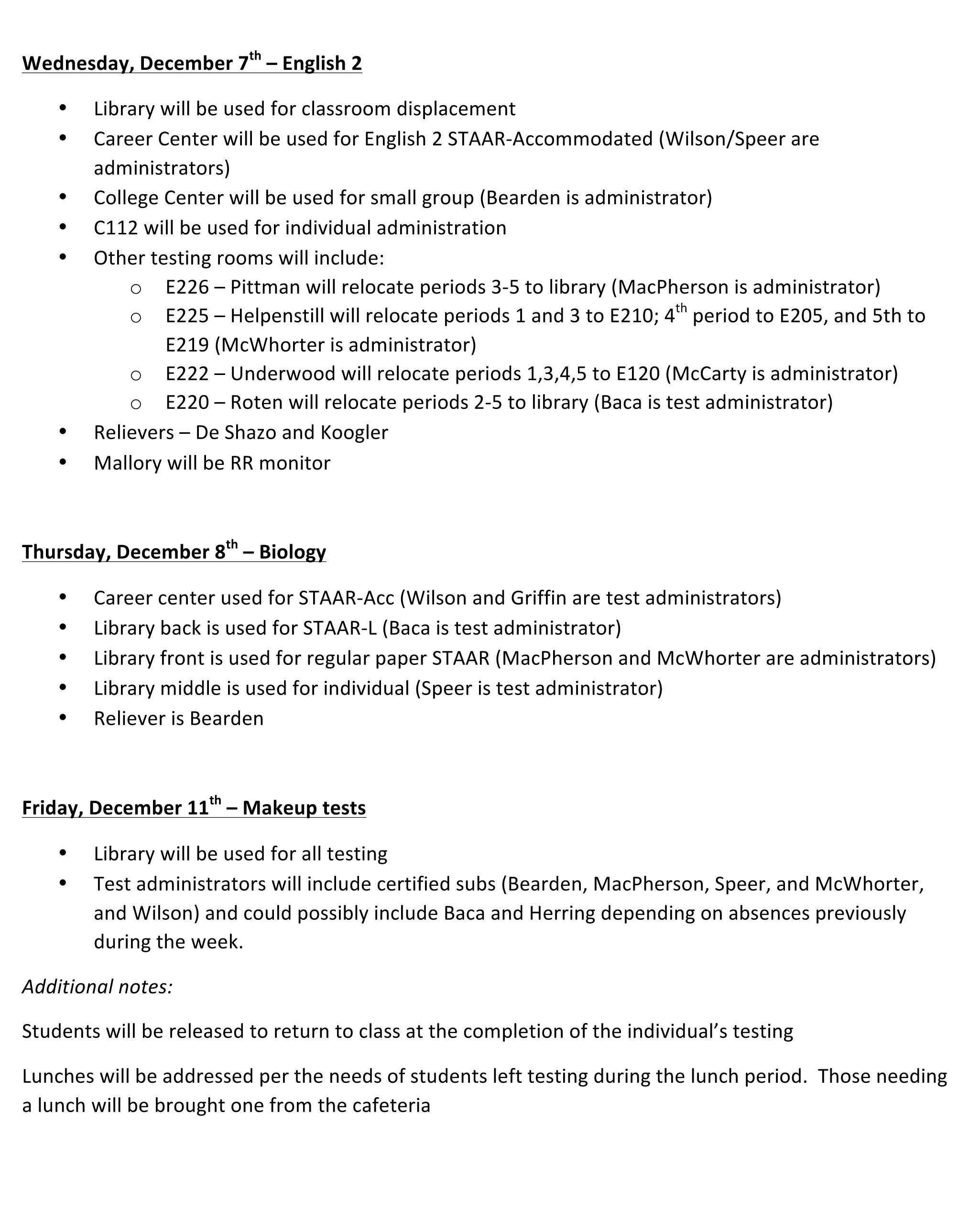 Microsoft Word - December Testing Plan.docx