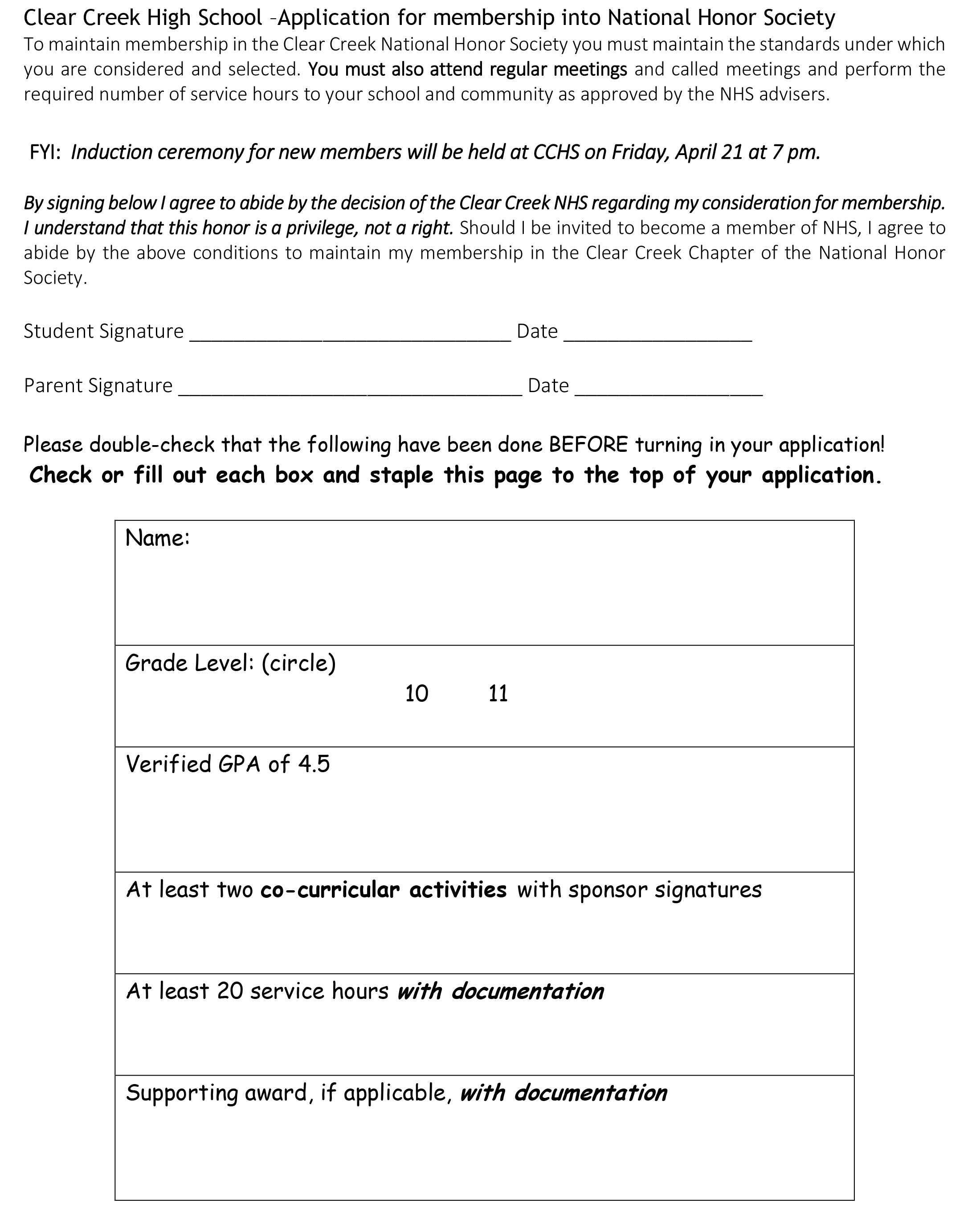 NHS application here – Creek HiLife