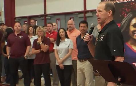 Local media covers Pep Rally honoring Coach Jordan