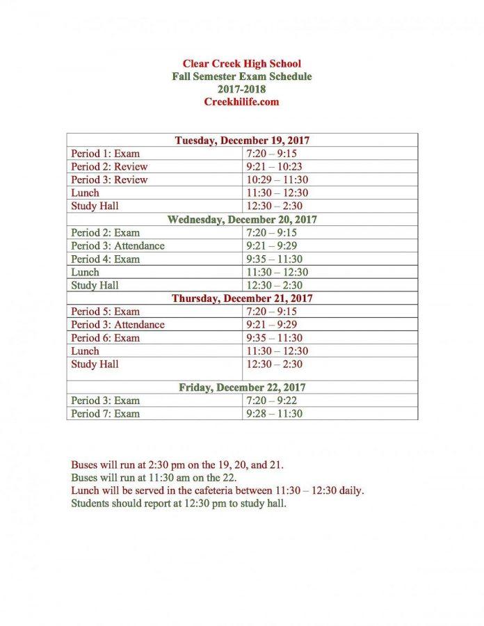 2017-18 Fall Final Exam Schedule