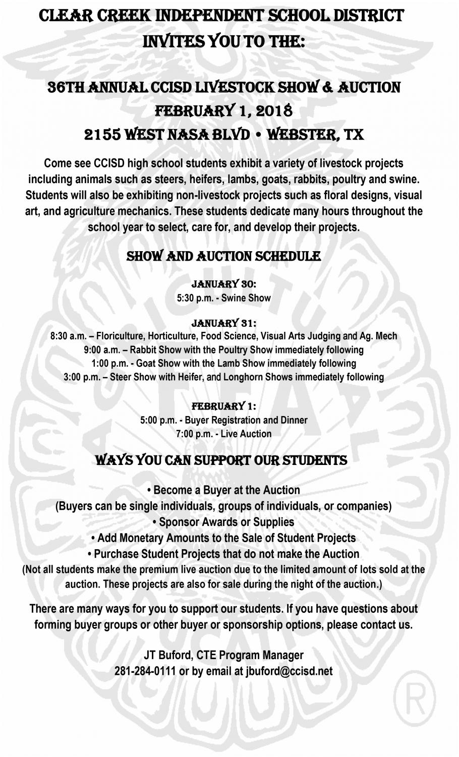 36th Annual CCISD Livestock Show and Auction begins Jan  30