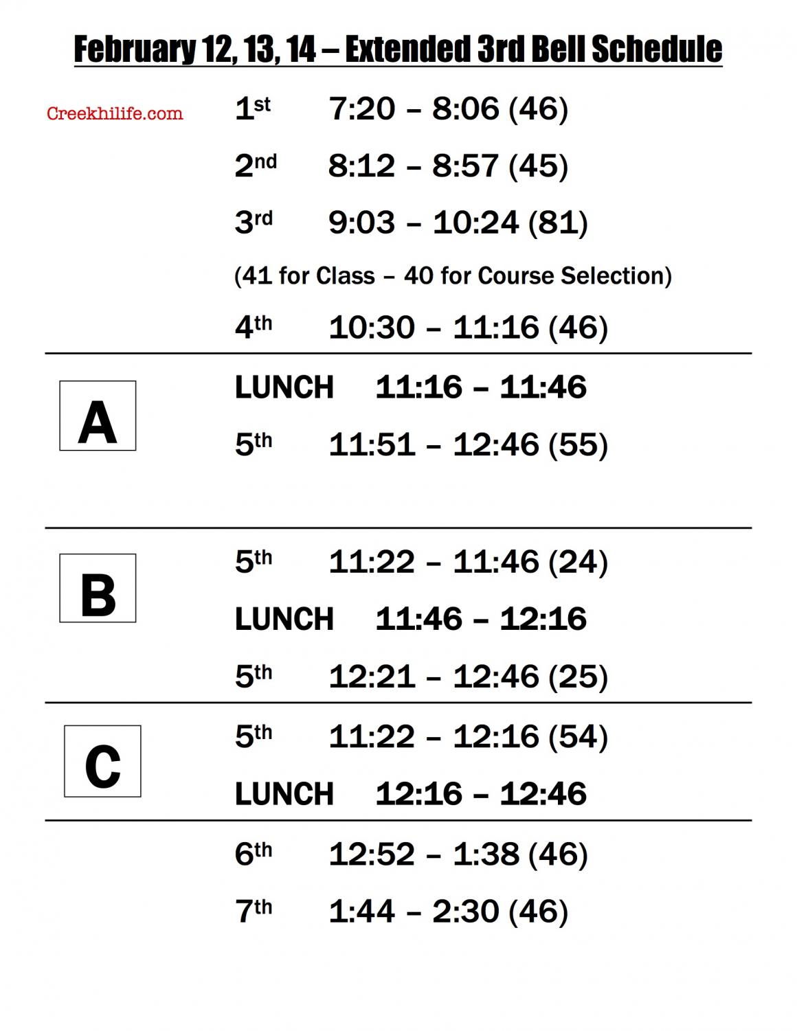 Course selection schedule