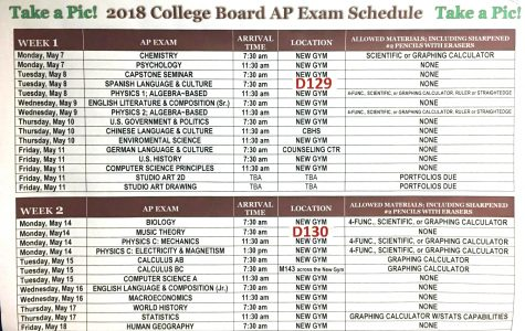 AP Testing Schedule May 2018