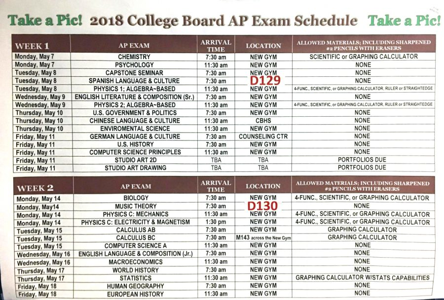 AP Testing Schedule May 2018 – Creek HiLife