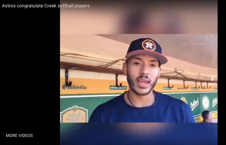 Astros congratulate Creek senior softball players and team