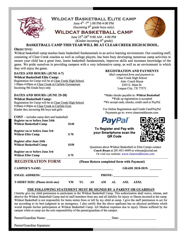 Wildcat basketball camp @ Clear Creek Carlisle Gym