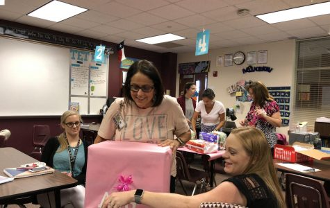 CTE  throws baby shower for Mrs. Huff