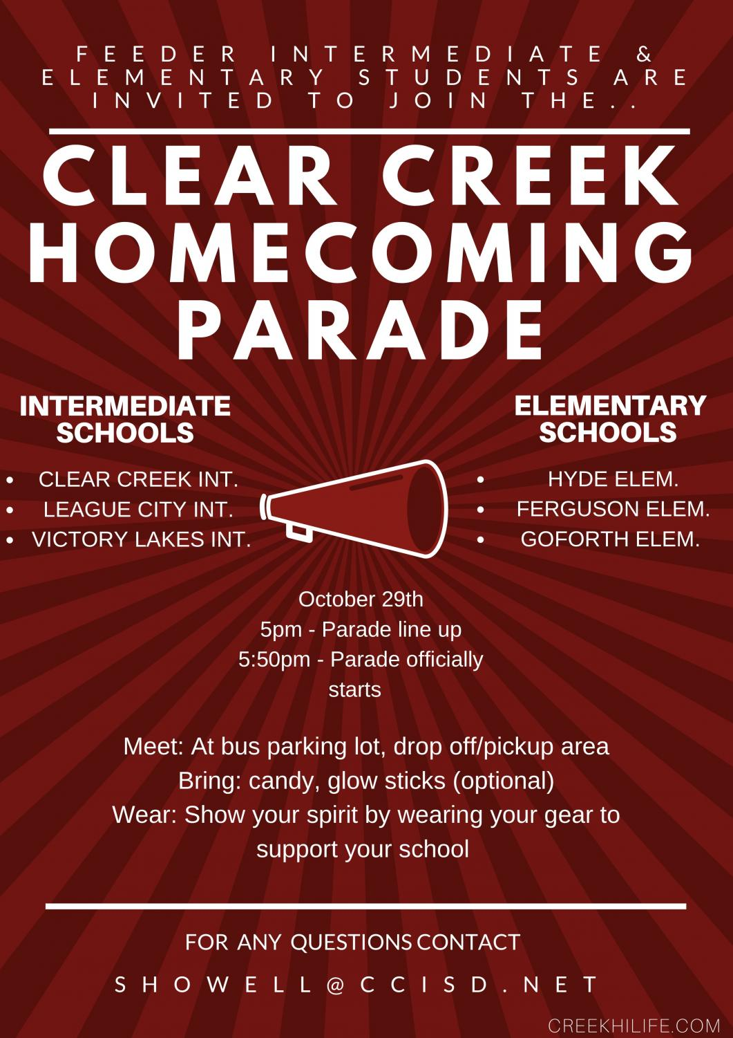 Invitation To Creek Feeder Schools To Homecoming Parade 2018 Creek