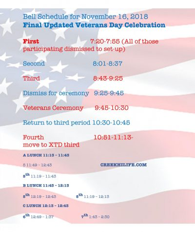 Final Update on Veterans Ceremony: Friday, November 16