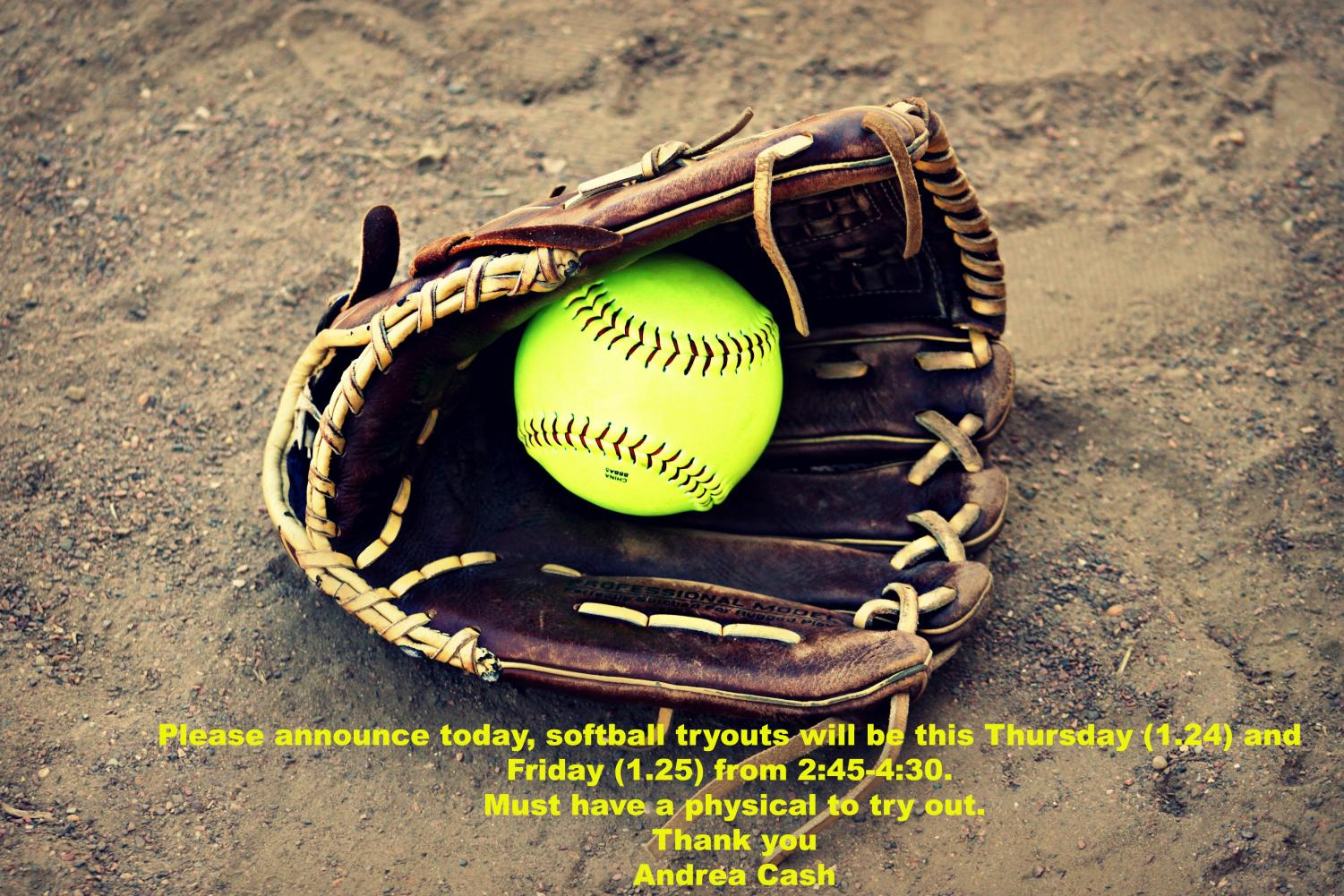 Softball tryouts Thursday and Friday 2019 – Creek HiLife