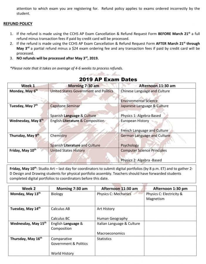 AP exams/schedule info here – Creek HiLife