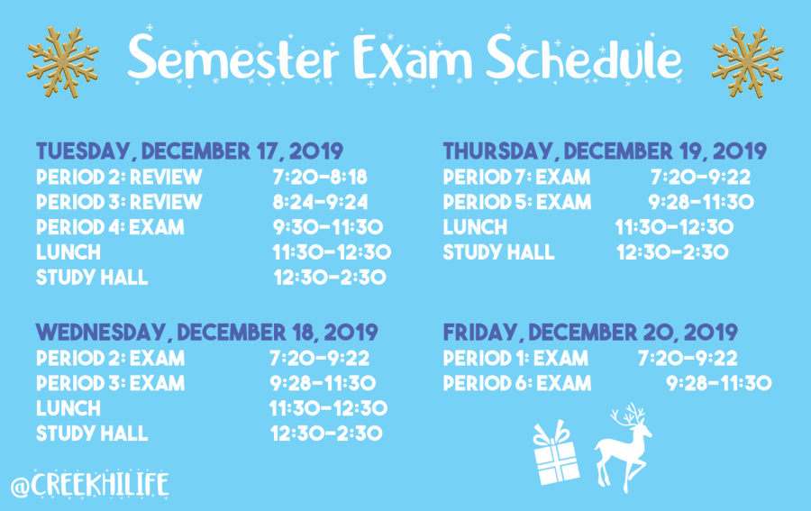 1st Semester Exam Schedule (2019)