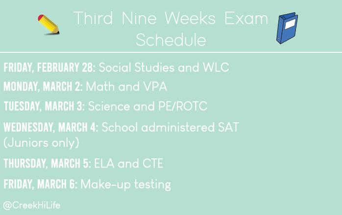 Third+nine+weeks+exam+schedule