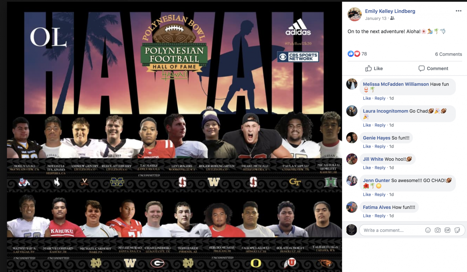 Lindberg is playing in the Polynesian Bowl this weekend-ALOHA!