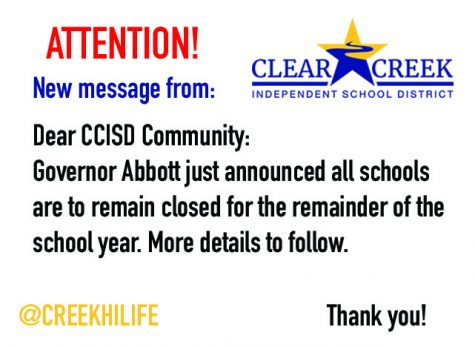 ATTENTION! Schools remain closed for the remainder of the school year