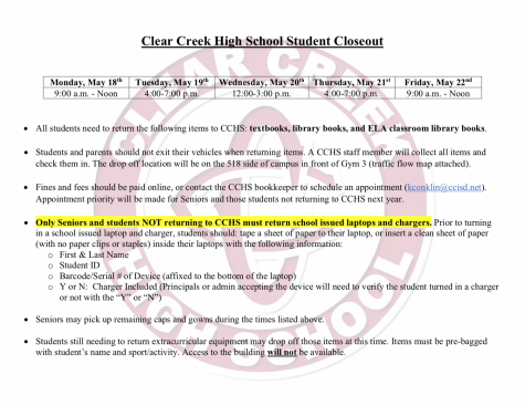 CCHS student closeout (returning of books and laptops)