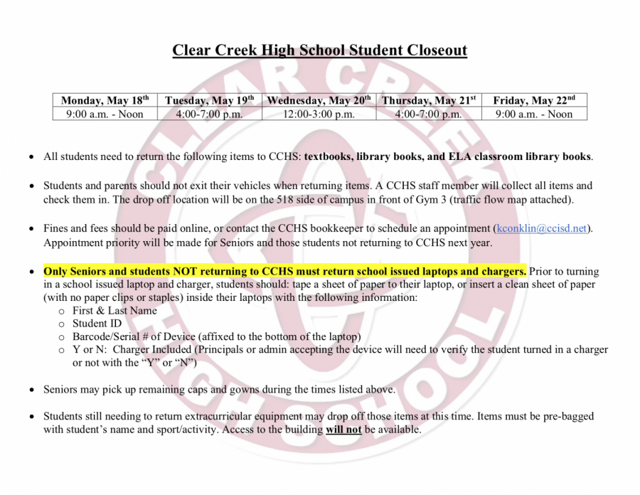 CCHS+student+closeout+%28returning+of+books+and+laptops%29