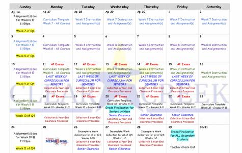 CCISD May 2020 calendar