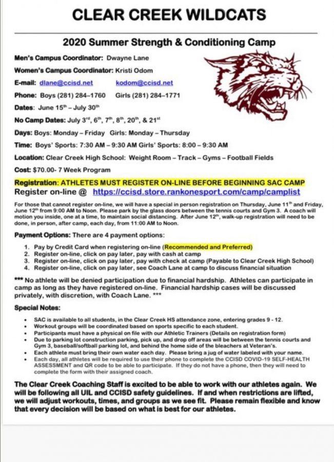 Summer 2020 strength and conditioning camp