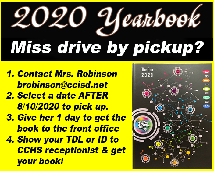 2020 Yearbook make-up pick up