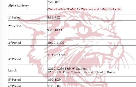 8/31/20 class schedule