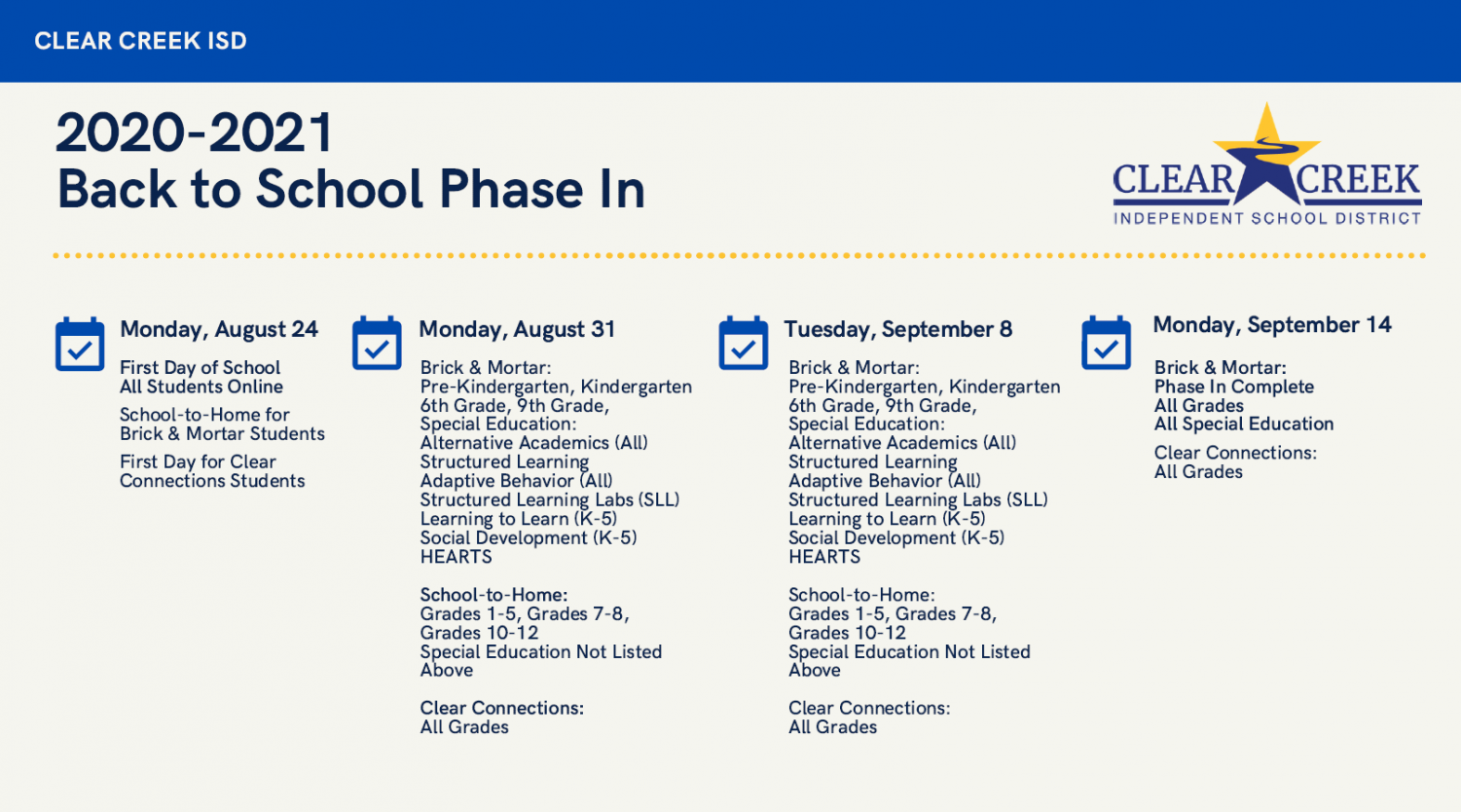 UPDATE:School start dates for online and in school